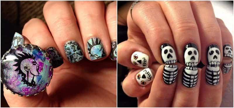 uñas decoradas goticas punk